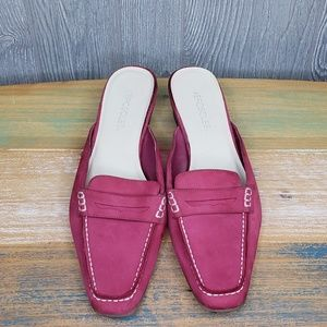 Aerosoles Hot Pink LOLLY Slides Leather Suede Mule
